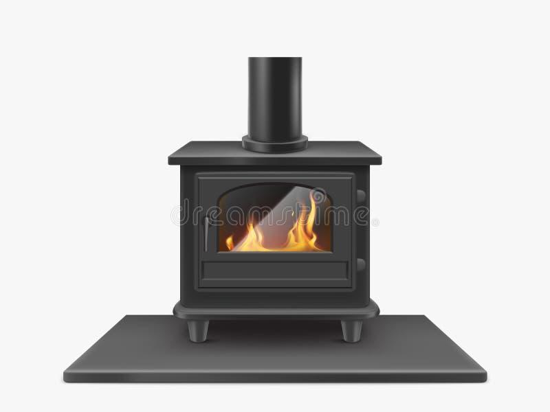 Cheminée brûlante en bois de fer de fourneau avec le feu à l'intérieur illustration de vecteur