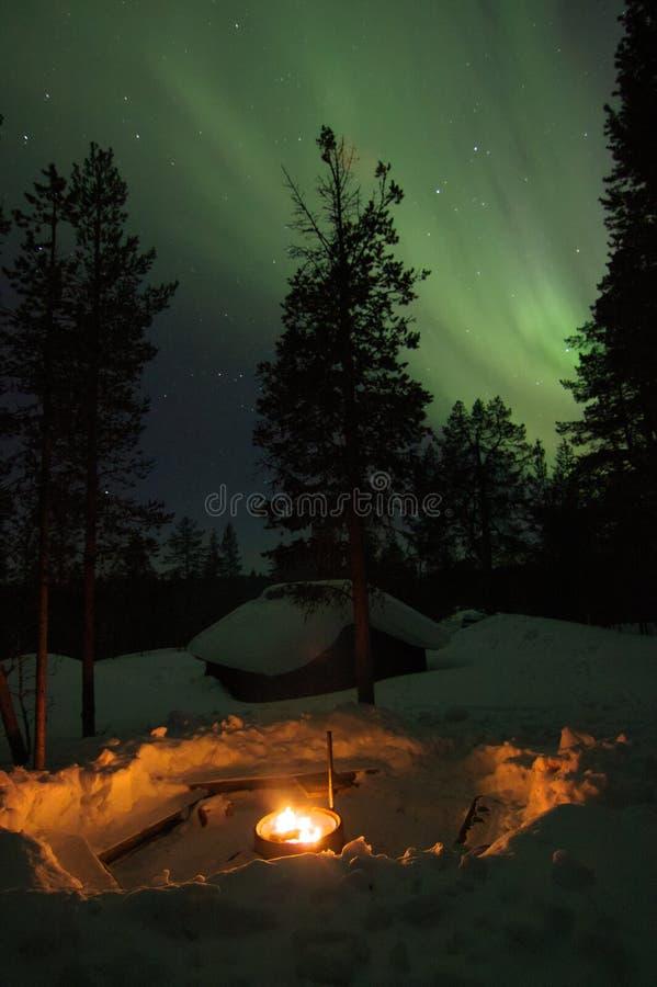 Cheminée dans la forêt avec l'aurora borealis ci-dessus image stock