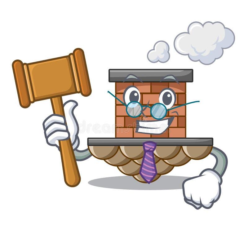 Cheminée de brique de juge prochaine le toit de bande dessinée illustration de vecteur