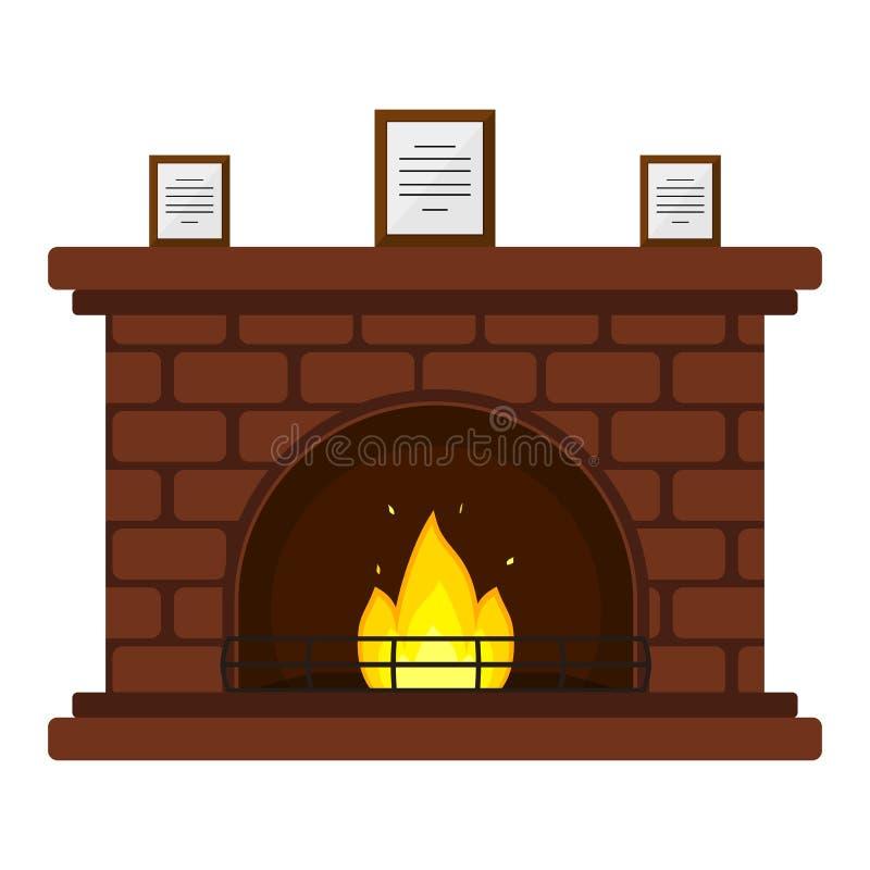 Cheminée de brique rouge illustration de vecteur
