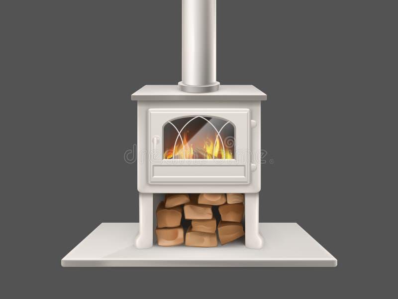 Cheminée de Chambre avec le vecteur brûlant de bois de chauffage illustration de vecteur