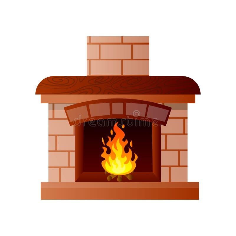 Cheminée de Chambre de pierre et matériel en bois avec le feu brûlant illustration libre de droits