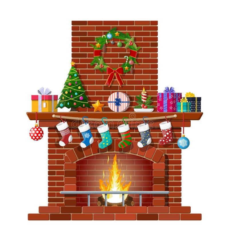 Cheminée de classique de brique rouge de Noël illustration stock