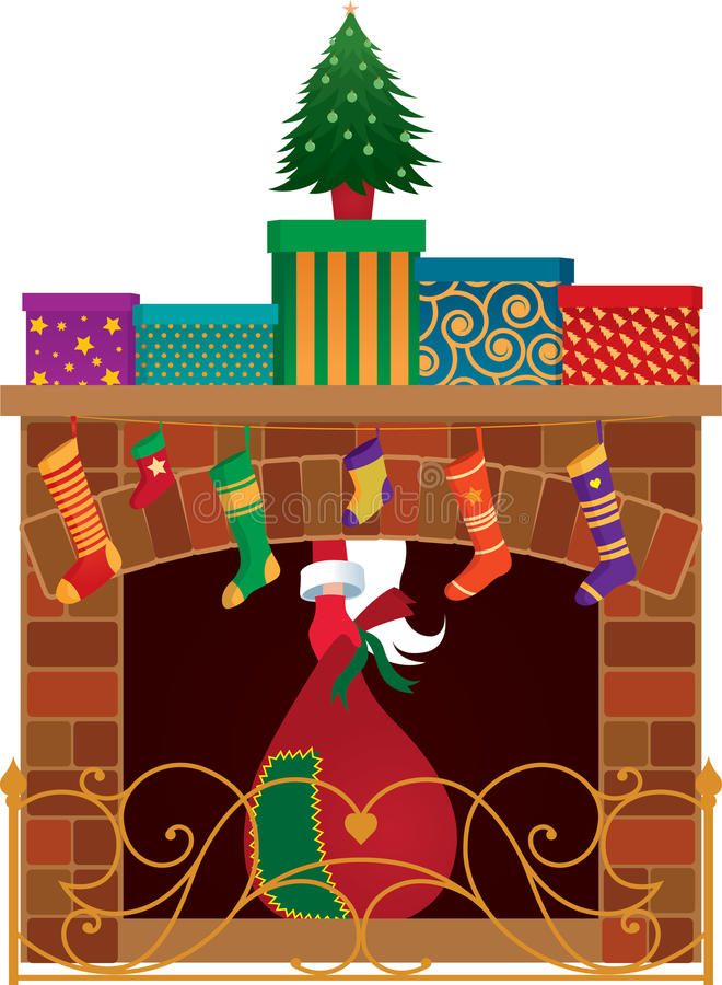 Cheminée de Noël illustration stock
