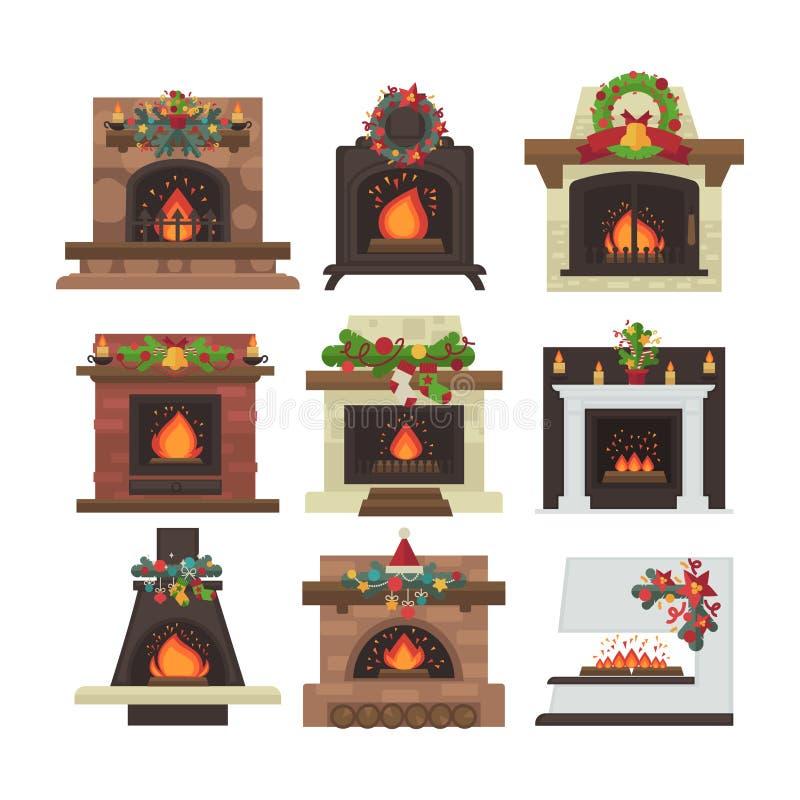 Cheminée de vecteur Le Joyeux Noël et dévastent la décoration de vacances de nouvelle année illustration stock
