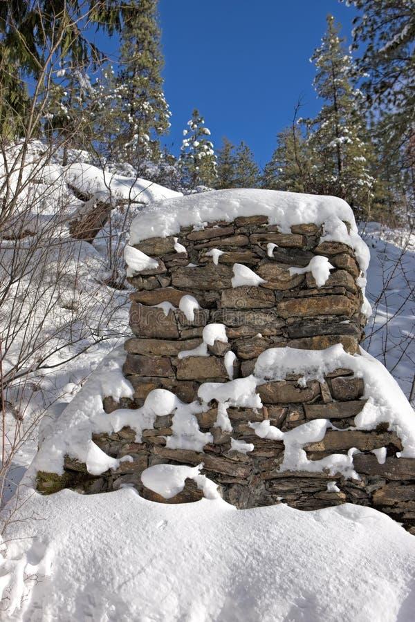 Cheminée en pierre en hiver images libres de droits