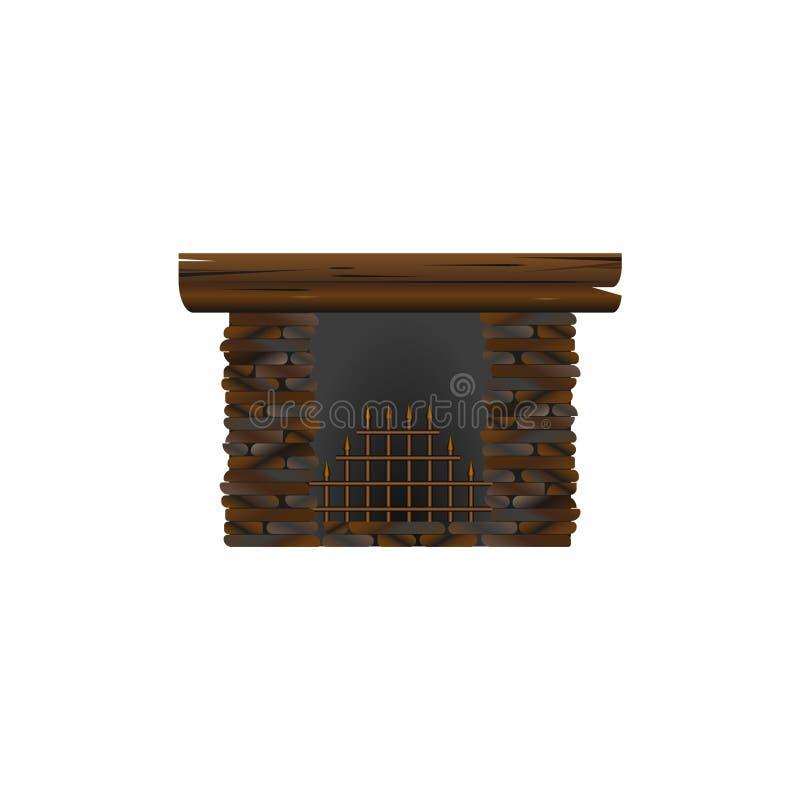 Cheminée faite en pierre pour l'intérieur nIsolated sur le fond blanc illustration de vecteur