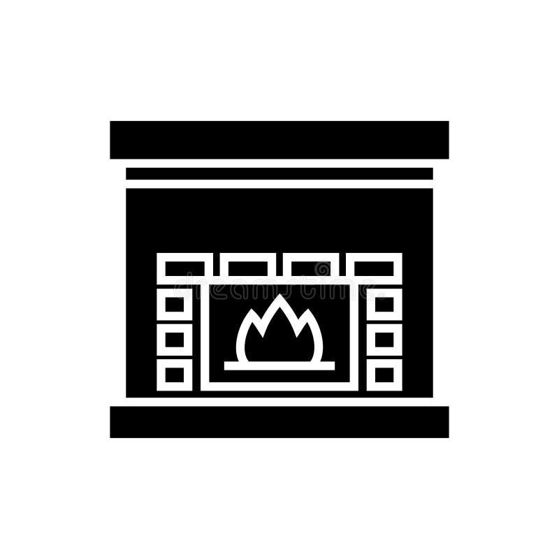 Cheminée - l'icône de foyer, illustration de vecteur, noir se connectent le fond d'isolement illustration libre de droits