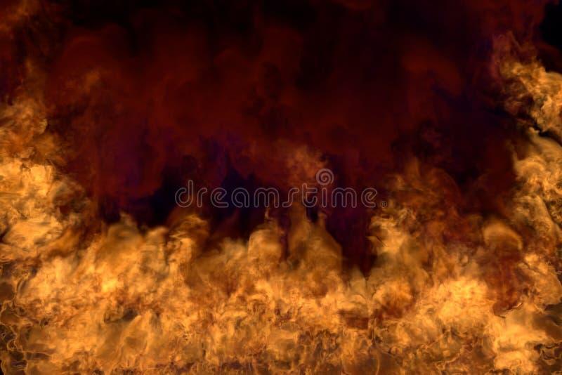Cheminée mystique brûlante sur le fond noir, demi cadre avec de la fumée dense - le feu des coins et du fond gauches et droits -  illustration libre de droits