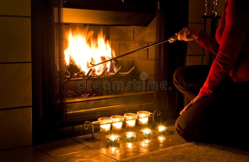 Cheminée romantique photos stock