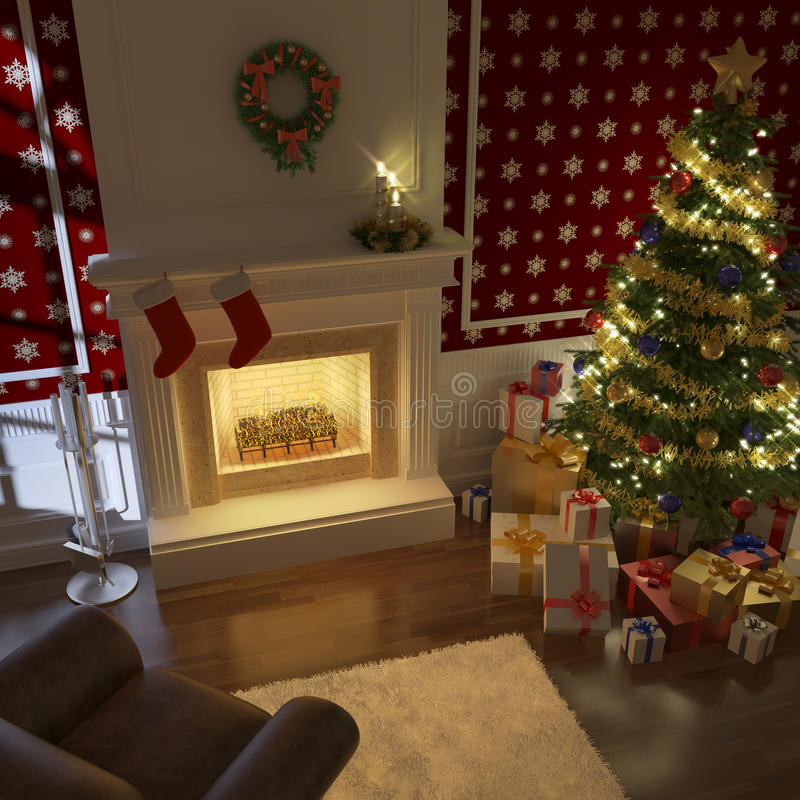 Cheminée traditionnelle de Noël illustration libre de droits
