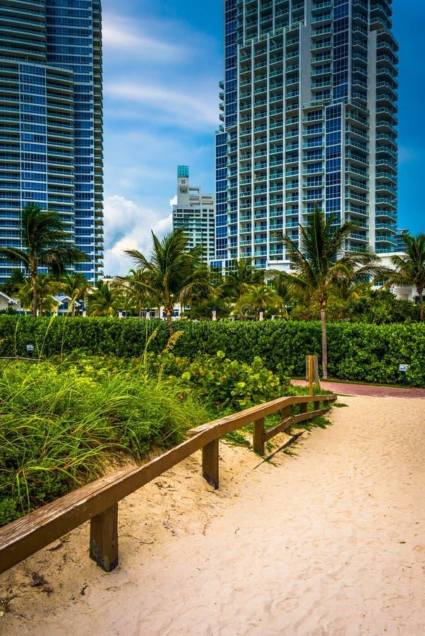 Chemin à la plage et highrises en plage du sud, Miami, la Floride photo libre de droits