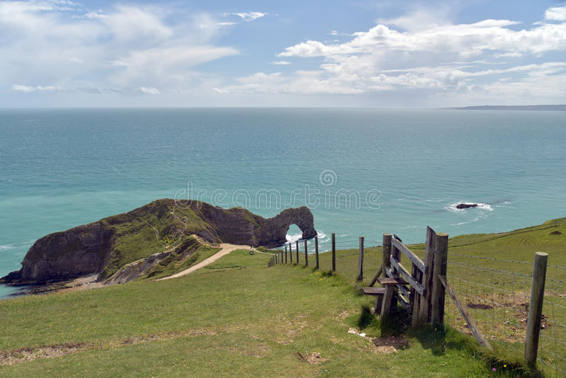 Chemin côtier de Dorset, porte de Durdle photos libres de droits