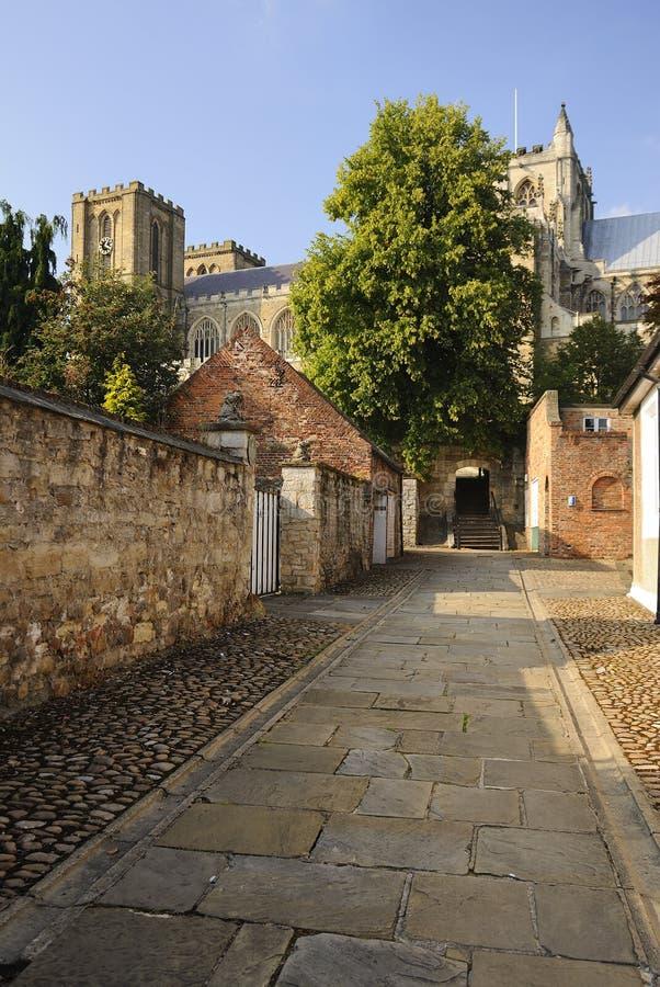Chemin détourné antique, cathédrale de Ripon photos libres de droits