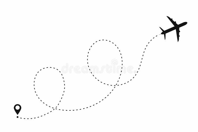 Chemin d'avion dans la ligne pointillée forme Itinéraire d'avion d'isolement sur le fond blanc illustration de vecteur