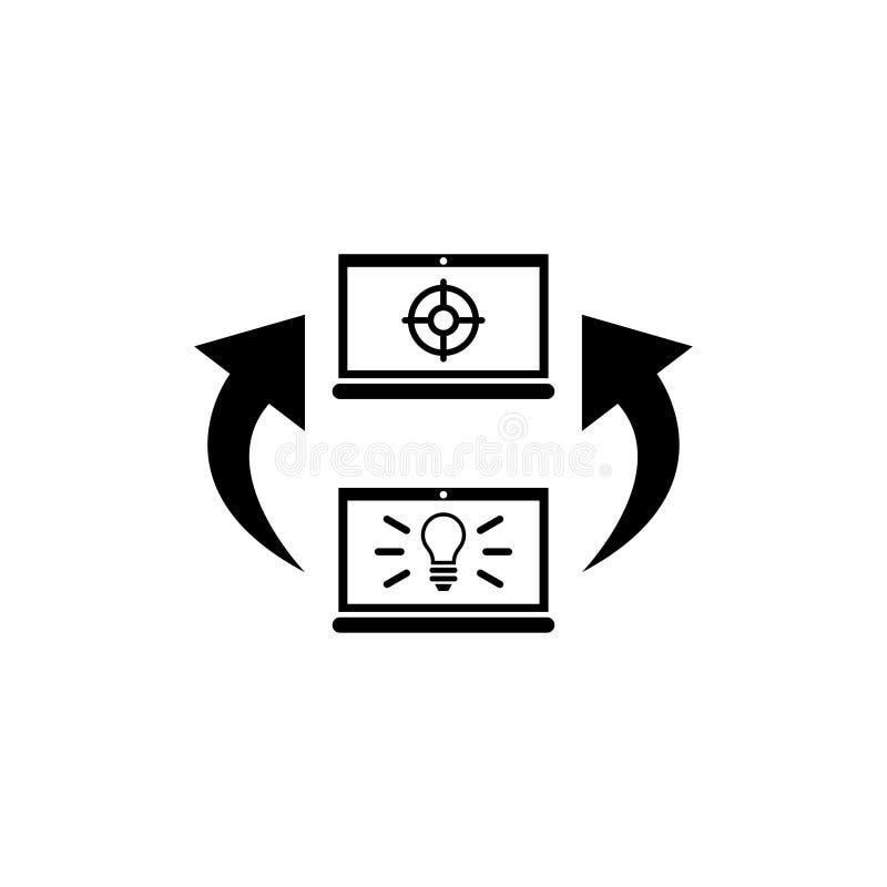Chemin d'idée au but, travail pour l'icône plate de vecteur d'ordinateur portable illustration de vecteur