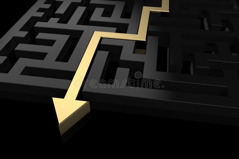 Chemin d'or montrant la sortie du labyrinthe illustration stock
