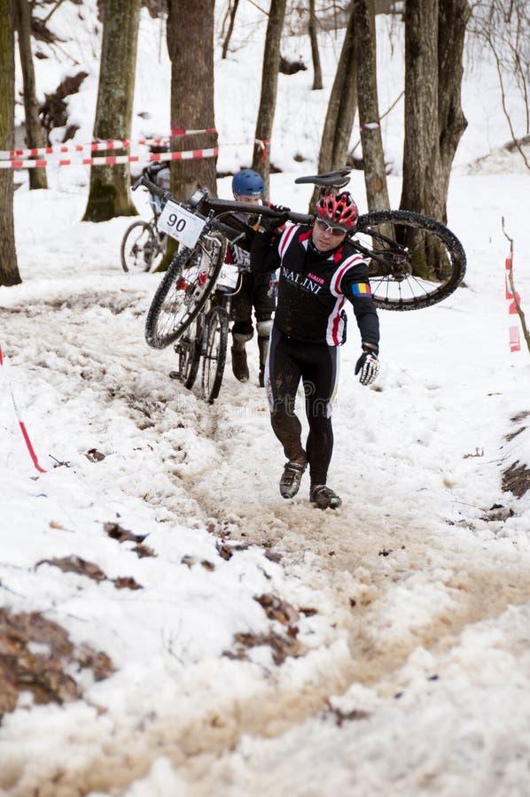 Chemin de bicyclette de l'hiver photographie stock libre de droits