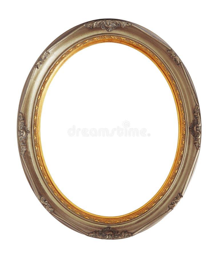 Chemin de coupure d'isolement en bronze ovale de cadre en bois image stock