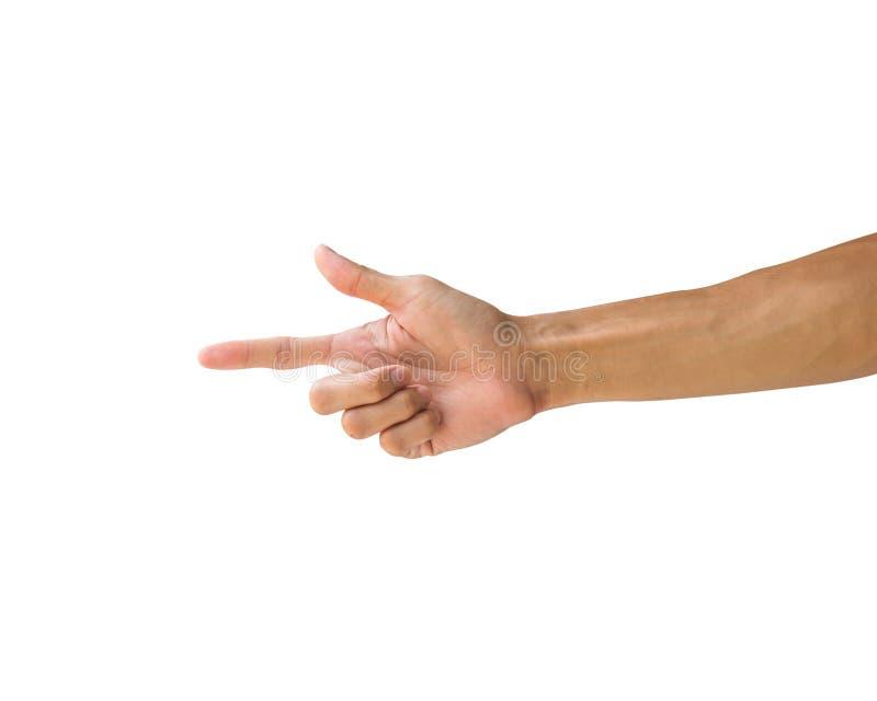 Chemin de coupure Geste de main faisant l'arme à feu de tir Tir de deux fi photos libres de droits