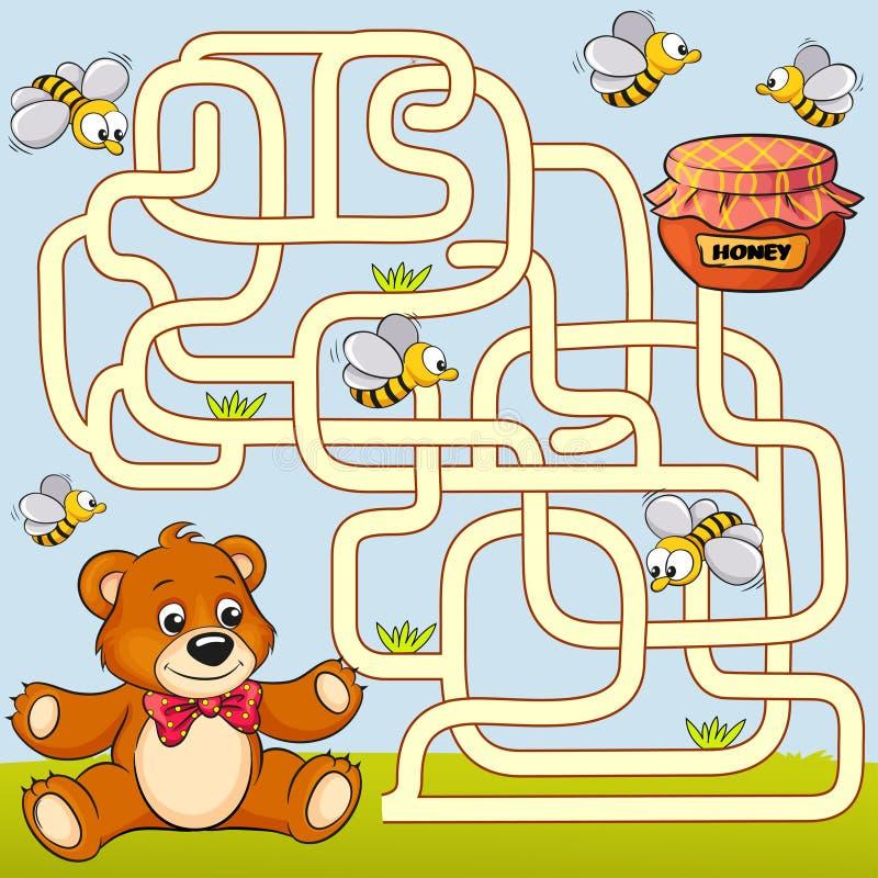 Chemin de découverte d'ours d'aide au miel labyrinthe Jeu de labyrinthe pour des gosses illustration libre de droits