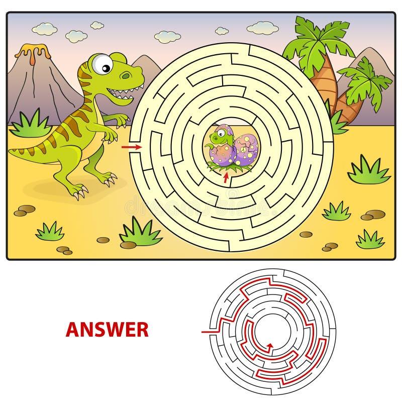 Chemin de découverte de dinosaure d'aide pour nicher le labyrinthe Jeu de labyrinthe pour des gosses illustration de vecteur