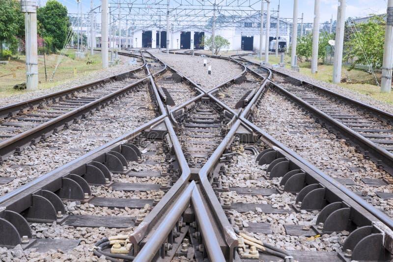 Chemin de fer avec la voie de commutation photo stock