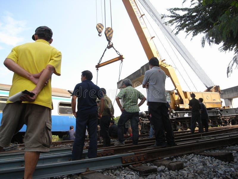 Chemin de fer d'état d'accident de la Thaïlande images libres de droits