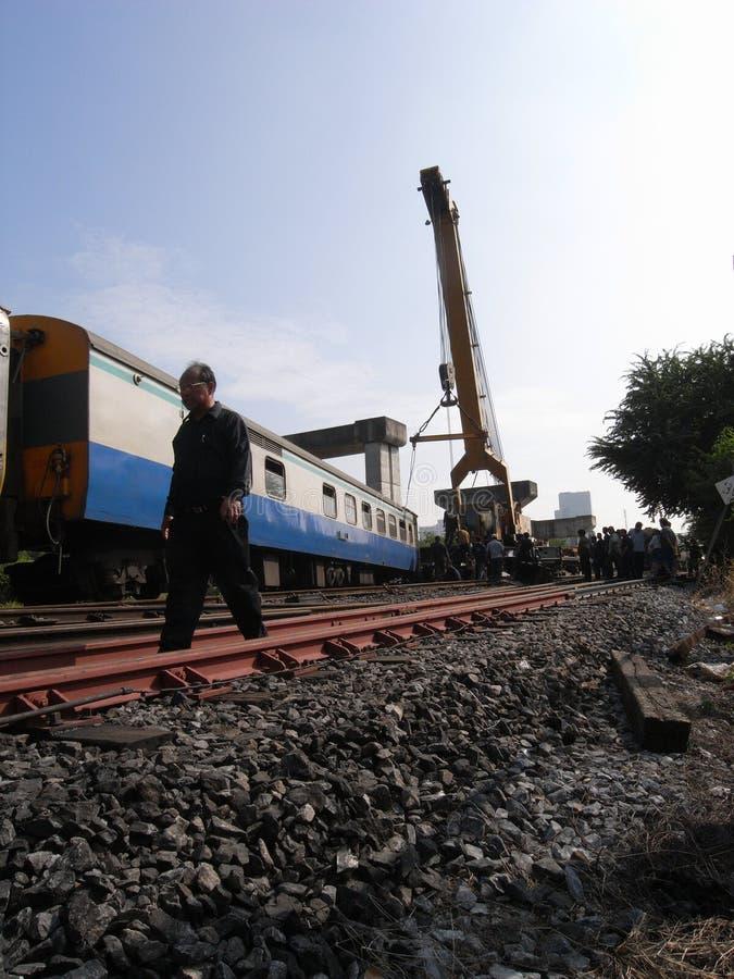 Chemin de fer d'état d'accident de la Thaïlande image stock