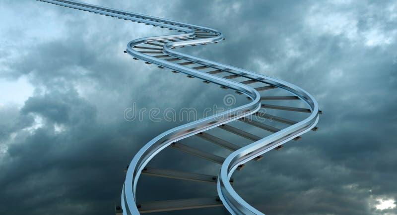 Chemin de fer d'occasion montant comme escalier dans le ciel, route au symbole de ciel Concept d'affaires illustration de vecteur