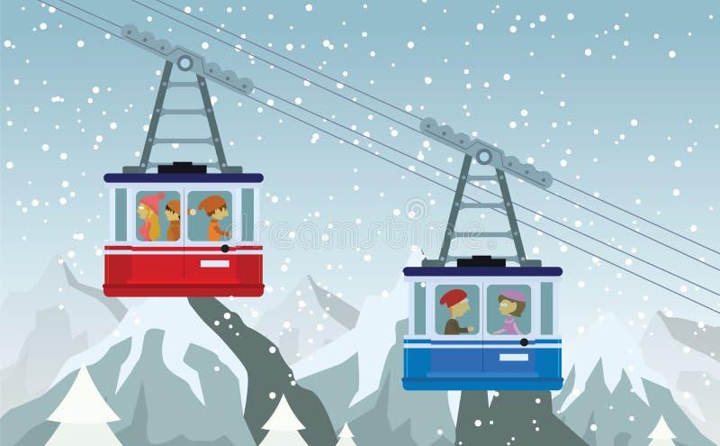 Chemin de fer de câble dans les montagnes illustration libre de droits