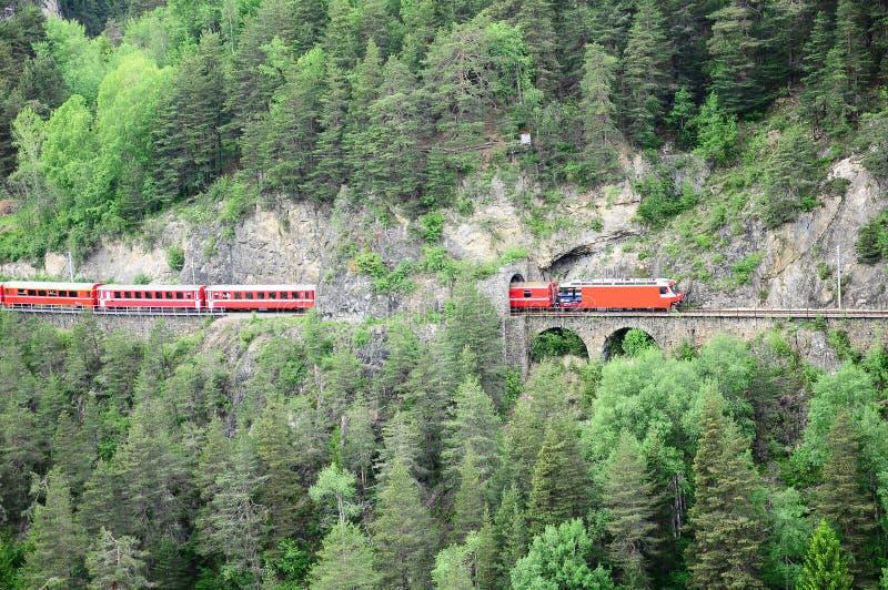 Chemin de fer de jauge étroite. La Suisse. photo libre de droits
