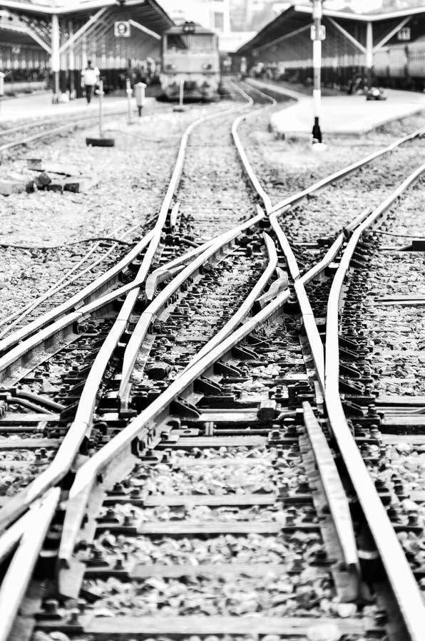 Chemin de fer en noir et blanc photo stock