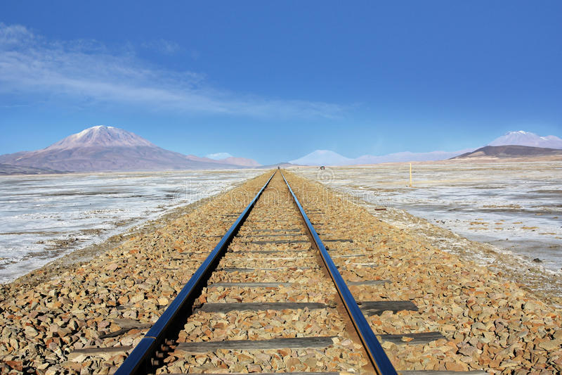 Chemin de fer en Salar de Uyuni Bolivia image stock