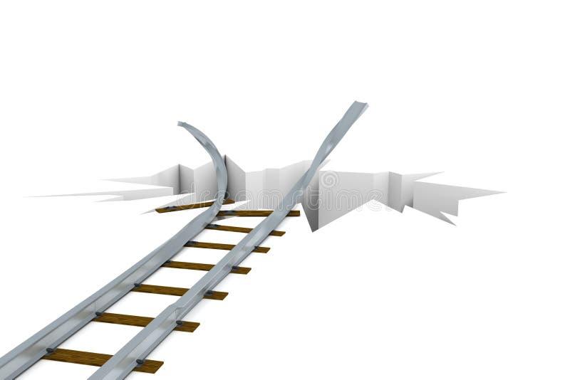 Chemin de fer endommagé illustration stock