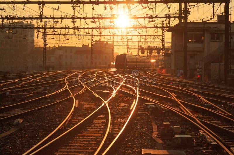 Chemin de fer ensoleillé images libres de droits
