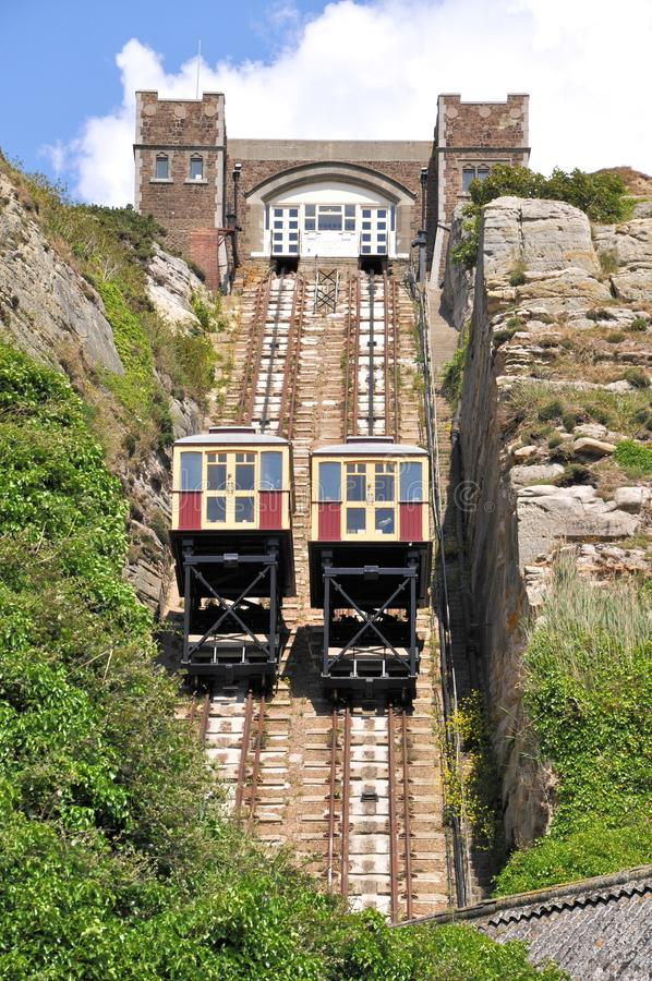 Chemin de fer funiculaire dans Hastings images stock