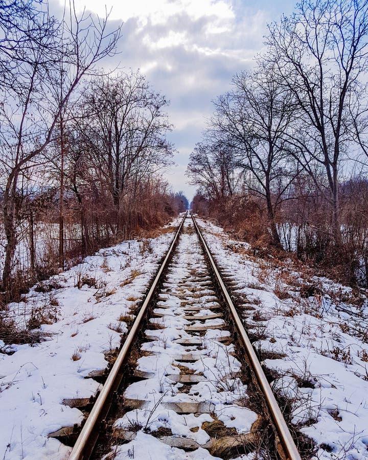 Chemin de fer de l'hiver photographie stock