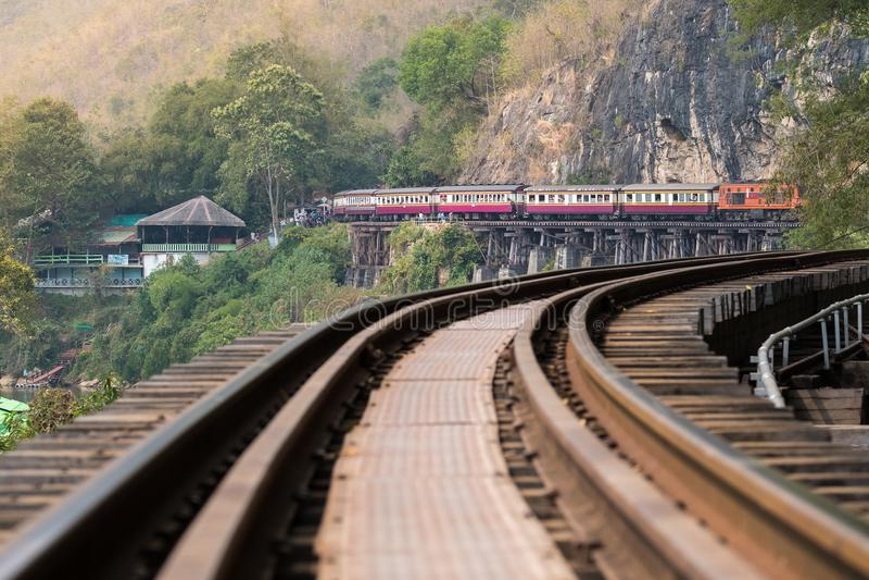 Chemin de fer de la mort dans Kanchanaburi, Thaïlande image libre de droits