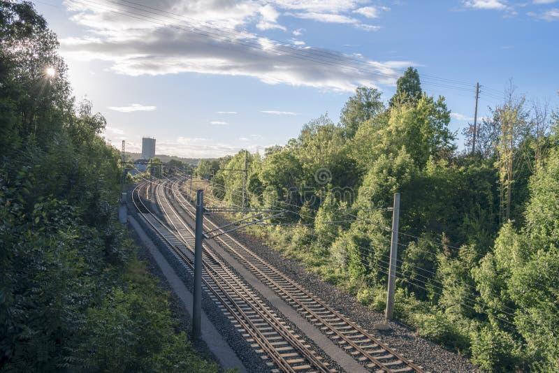 Chemin de fer par la nature au coucher du soleil photo libre de droits