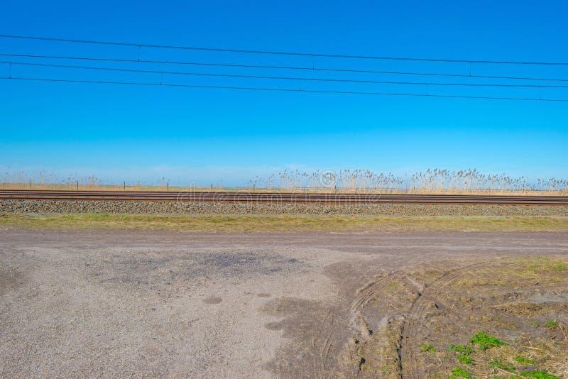 Chemin de fer par la nature au printemps photo libre de droits
