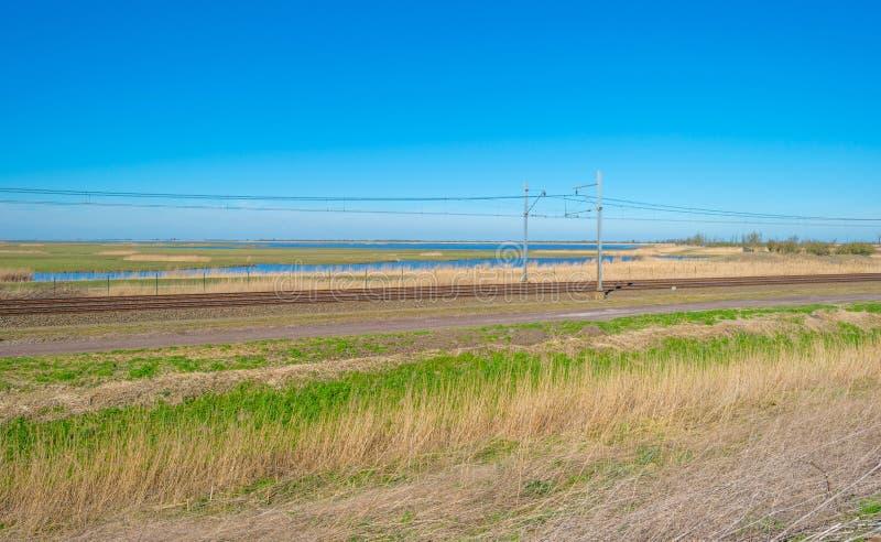 Chemin de fer par la nature au printemps image stock