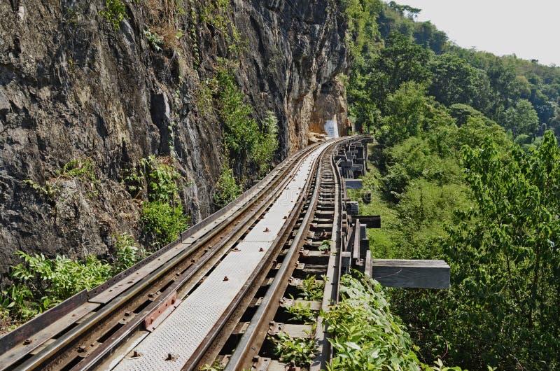 Chemin de fer près de la falaise photographie stock libre de droits