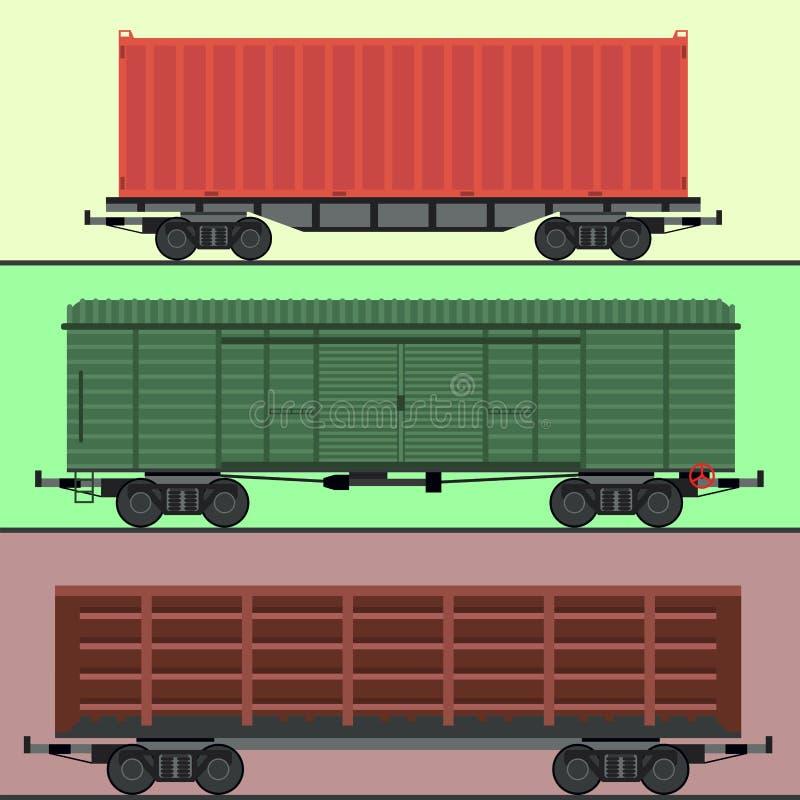 Chemin de fer de voiture de chariots de train sans barrer le transport locomotif de chariot de vecteur de passager de chemin de f illustration stock