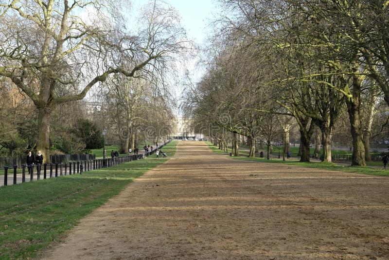 Chemin de frein putréfié de rangée dans Hyde Park Londres photographie stock