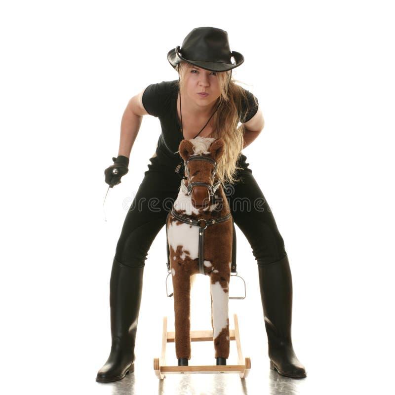 chemin de jockey de hobbyhorse de cow-girl photo libre de droits