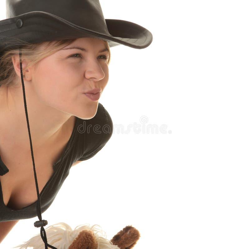 chemin de jockey de hobbyhorse de cow-girl images libres de droits