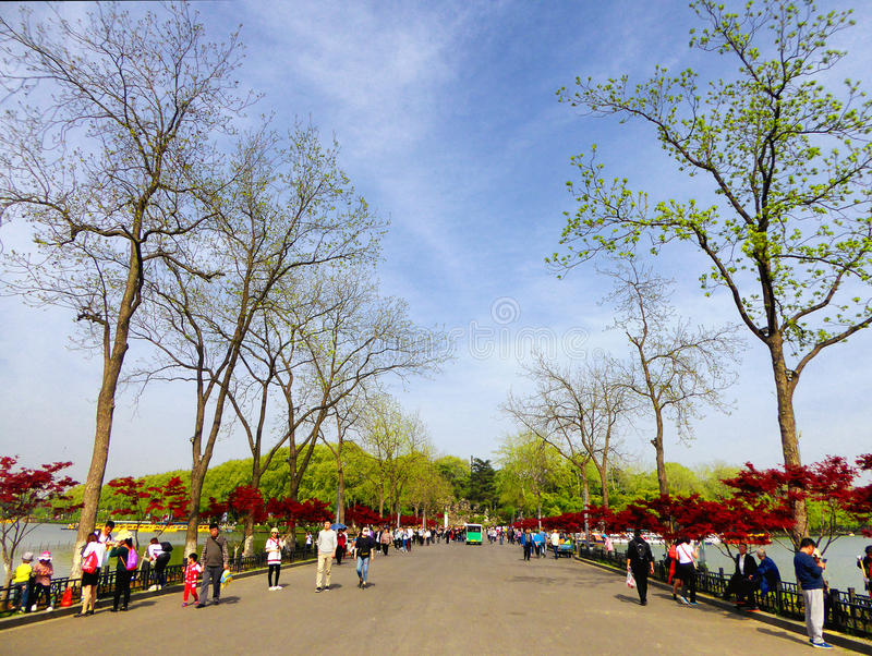 Chemin de lac Xuanwu images stock