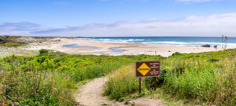 Chemin de marche passant par les arbustes verts vers une plage sablonneuse ; avertissement de signe des courants de déchirure pér image stock