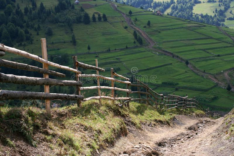 Chemin de montagne sur la pente verte des Carpathiens images libres de droits